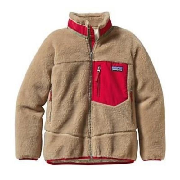 98bb55f5d849f { Patagonia } Retro-X Jacket Boys Camel Red